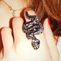 Fashion Personality full rhinestone snake rings  jewelry ! Free shipping Min.order $15 mix order JZ4021