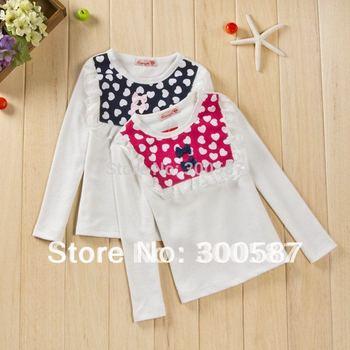 2014 children girls lace bowknot heart split joint long sleeve princess Primer t-shirt dress SZ67