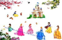 Free shipping ,assembled size 200cm*140cm, princesses Combination Wall Stickers,snow white cartoon stickers