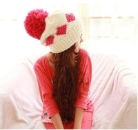 [Vic] 5pes/lot Handmade Wool Woman Winter Crochet Knit Beanie Hat white color in stock  #MZ023+ Free Shipping