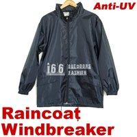 Free shipping NEW Unisex Outdoor wear Polyester Anti-UV jacket Waterproof Raincoat Hoodie windbreaker (OG-12002)Black