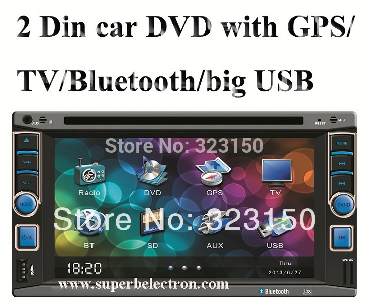 universal 2 two Din 6.2 inch Car DVD player with GPS Navigation (optional), audio Radio stereo,Bluetooth/TV,digital touch screen(China (Mainland))