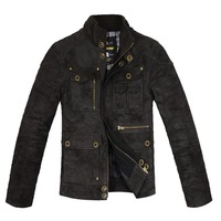 Men's clothing vintage unassisted goatswool pigskin motorcycle short design leather jacket outerwear
