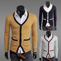 Free Shipping 2012 Autumn Men's Clothing Slim Cardigan V-neck Sweater M,L,XL,XXL French Grey,RoyalBlue,Yellow Support Wholesale