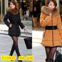 free shipping 2012 autumn and winter large luxury fur collar down coat female slim medium-long