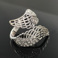 Min. order is $15 (mix order) Aq0680 fashion diamond angel wing punk finger ring 2012