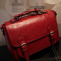 Korean ' spring fashion antiquates briefcase vintage messenger bag Wine red handbag cross-body women's handbag