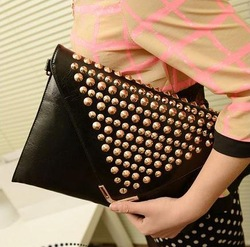 2013 Fashion Purses and Handbags Punk Stud Rivet Rhinestone Buckle Envelope Clutch Evening Bags 9 colors Freeshipping(China (Mainland))
