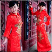 2012 fashion winter long design half sleeve vintage bridal wedding cheongsam formal dress evening dress