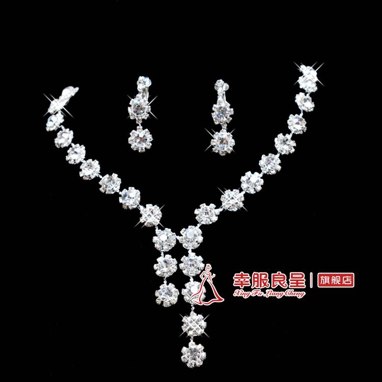Bride chain sets rhinestone necklace the bride accessories marriage jewelry