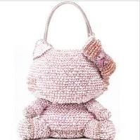 2011 star style anteprima hello kitty knitted women's handbag