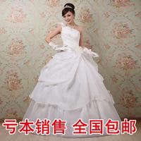 Bride flower oblique sweet wedding dress fashion royal princess wedding dress 8026