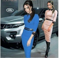 Free Shipping 2013 New arrival Fashion blue,pink  turn-down collar Victoria beckham careeer Office Dress S-2XL with a Belt vb017