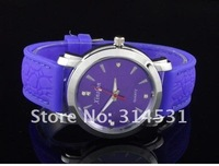 brand new men's watches,women's silicone strap wrist watches, 7 colors can mix,10pcs/lot Free shipping