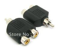 Wholesale - Free shipping 100pcs/lot RCA Male Plug to 2 x RCA Female Jack Adapter