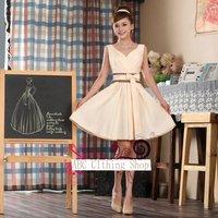 Free Shipping V-neck Pleated Knee-length Wedding Bridal Dress Bow Ribbon Slimming Waist Prom Dress