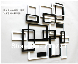 Lover rectangle 3D wall stickers home stereo background stickers wooden relievo decoration stickers(China (Mainland))