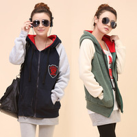 Women's hoodie sweatshirt female school wear loose plus size fleece thickening outerwear female cardigan