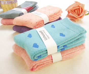Free Shipping 10pairs/lot female towel thickening knee-high socks autumn and winter thermal 100% cotton socks
