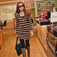1572 # 2014 winter hot new Korean striped long hooded  winter dress - black and white stripes