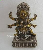 Tibetan Silver Gilt Bronze Skull 6 Arms Mahakala Buddha Statue Elephant  (Free Shipping)