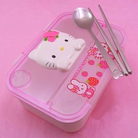 Free shipping, Retails Hello kitty lunch box sets PP plastic lunch box with stainless steel chopsticks spoon Children's gifts