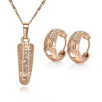KS13   Promotion Sale / Fashion jewelry Wholesale  Set/ 18K Gold Plated Rhinestone Crystal Necklace Earrings Set