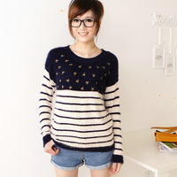 2012 autumn new arrival women's navy style anchor pattern plush stripe o-neck long-sleeve sweater s036