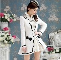 Free shipping 2013  new white petal black slim wool coat ladies' outerwear