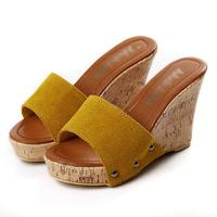 2012 xiaxin sandals brief all-match plain casual wood wedges platform female sandals