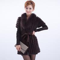 free shipping  autumn rabbit fur knitted sweater fox fur coat