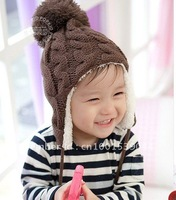 1-PC Free Shipping 5 colors New Arrival Children Knitted Hats Winter crochet Hat with villi inner Kids Earflap Cap