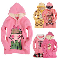 2014 girls clothing autumn sweatshirt child sweatshirt autumn and winter child fleece thick sweatshirt f1228
