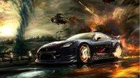 "02 GT-R Nissan Black In The Fire 42"" x 24"" Inch Sticker Poster Wallpaper"