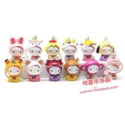 Hello kitty kt cat 12 zodiac doll keychain 12 set(China (Mainland))