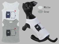 Pet clothes dog clothes summer black White 100% cotton t shirt vest vip bo