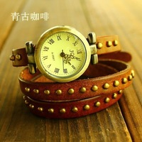 Наручные часы Genuine Cow leather watch women sale 2012 New fashion Vintage Roman wrist watch 2012-11-507