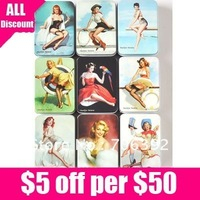 Free Shipping Vintage Style Marilyn Monroe Storage Case/Iron Case/Jewel Box 1set/lot ( 9pcs=1set )