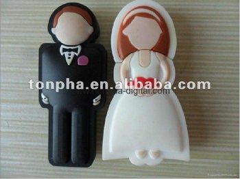 MOQ 1 pair  ( include a bride and a groom) free shipping wedding gift USB flash drive disk 2GB/4GB/8GB/16GB/32GB