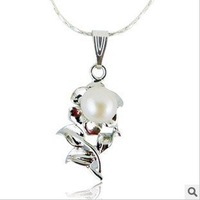 Free Shipping~ Fashion Freshwater Natural Pearl Rose Flower Pendant Necklaces Jewelry, Platinum Plating, 10pcs/lot, best gift