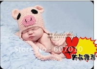 Winter the New 100% Cotton baby animal hat Handmade pig cartoon the cap children earmuffs wool hat