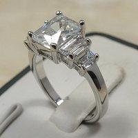 Fashion jewelry Cubic Zircornia CZ Rhodium Plated 3 stone Princess Cut Bridal Wedding Engagement Ring Set highest Quality R343