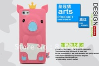 For iphone5 case,3D Crown pig Silicone gel Case cartoon cute rubber cover for iphone5 5G 5GS iPhone 5.