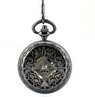 promotion (4pcs/lot) Chinese knot gunblack mechanical pocket watch necklace. 37.5cm or  80cm