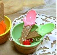 wholsesale -free shipping Lot of 4 CUTE Ice Cream Social Waffle Cone Bowls with matching Spoon Set