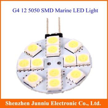 10pcs G4 5050 12 SMD White Marine Cabinet LED Light Bulbs Lamp 12V