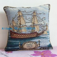 Pillowcase 1PCS 17 inch (45cm*45cm) Sail Boat Cotton Pillow flax Cushion Cover For Sofa or Bed P58