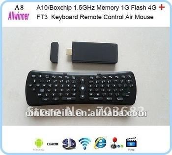 Google Allwinner A10 1G DDR3+keyboard wifiandroid 4.0 tv box full hd media player streaming server 2012 best selling hd smart
