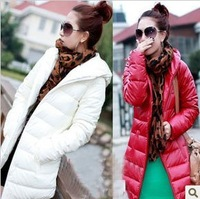 Discount Soft PU Leather Long Slim Casual Women Duck Down Coat Winter Outwear Ladies FREE SHIPPING
