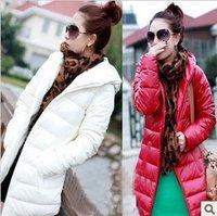 Discount Soft PU Leather Long Slim Casual Women Duck Down Coat Winter Outwear Ladies FREE SHIPPING